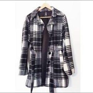 Black and White Plaid Warm Winter Coat Jacket
